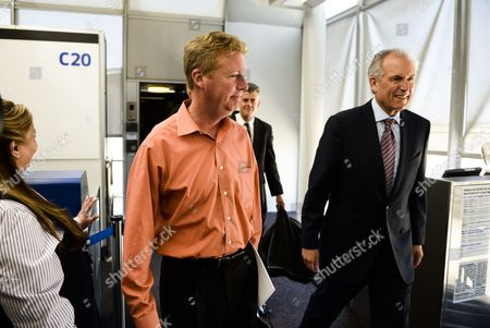 Boeing Ceo Jim Mcnerney (r) Arrives with Other Passengers After Deplaning From a Boeing 787 Dreamliner Operated by United Airlines at O'hair International Airport in Chicago Illinois Usa 20 May 2013 the Fleet of Planes was Cleared to Fly Again in the Us After Being Grounded by Authorities on 17 January 2013 Due to the Threat of Fire Caused by Faulty Batteries Repairs to the Battery Systems Include Greater Space Between Cells and Encasement in Steel Boxes Should the Batteries Cause a Fire United States Chicago