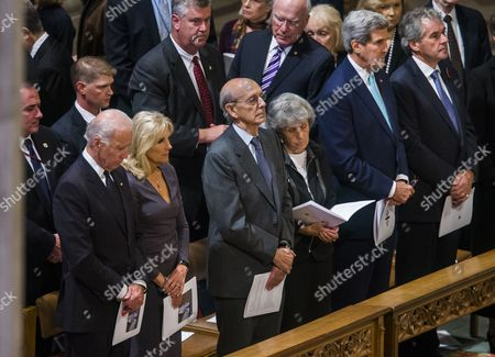 (l-r) Us Secretary of State Joe Biden Dr Jill Biden Us Supreme Court Justice Stephen Breyer and His Wife Joanna Hare Us Secretary of State John Kerry and British Ambassador to the Us Sir Peter Westmacott Stand in the Front Row at the Funeral For Former Washington Post Editor Benjamin Crowninsheld Bradlee at the National Cathedral in Washington Dc Usa 29 October 2014 Bradlee who Led the Washington Post During Its Pulitzer Prize Winning Coverage of the Watergate Scandal Died on 21 October 2014 at the Age of 93 According to the Washington Post He Died at His Home of Natural Causes United States Washington