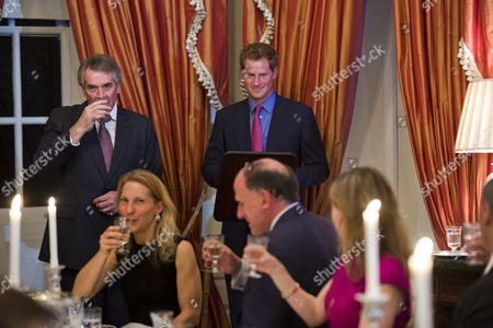 Ambassador to the Us Sir Peter Westmacott (l) Toasts Britain's Prince Harry (c) at a Dinner at the Ambassador's Residence in Washington Dc Usa 09 May 2013 Prince Harry Kicked Off His Visit to the Us with Two Days in the Nation's Capital United States Washington