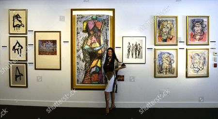 Barbara Lazaroff Stands in Front of Works From Her Collection That Will Be Auctioned at the Julien's Auctions in Beverly Hills California Usa 17 June 2014 United States Beverly Hills