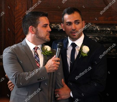 Same Sex Couple Paul Katami and Jeff Zarrillo (r) During Their Wedding at Los Angeles City Hall in Los Angeles California Usa 28 June 2013 After California's Proposition 8 Banning Gay Marriage was Struck Down by the the 9th Circuit Court of Appeals the Supreme Court Over-turned the Prop 8 Ban on Same-sex Marriages on United States Los Angeles