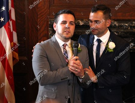 Same Sex Couple Paul Katami (l) and Jeff Zarrillo (r) During Their Wedding at Los Angeles City Hall in Los Angeles California Usa 28 June 2013 After California's Proposition 8 Banning Gay Marriage was Struck Down by the the 9th Circuit Court of Appeals the Supreme Court Over-turned the Prop 8 Ban on Same-sex Marriages on United States Los Angeles