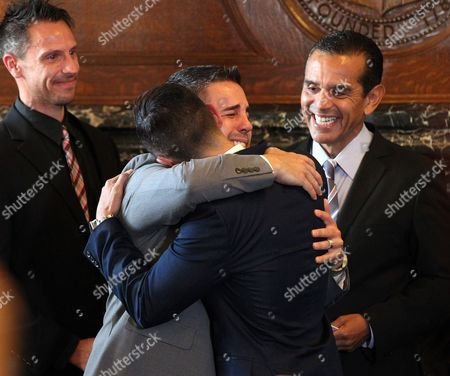 Same Sex Couple Paul Katami (l) and Jeff Zarrillo (r) During Their Wedding at Los Angeles City Hall in Los Angeles California Usa 28 June 2013 After California's Proposition 8 Banning Gay Marriage was Struck Down by the the 9th Circuit Court of Appeals the Supreme Court Over-turned the Prop 8 Ban on Same-sex Marriages on at (r) is Los Angeles Mayor Antonio Villaraigosa United States Los Angeles