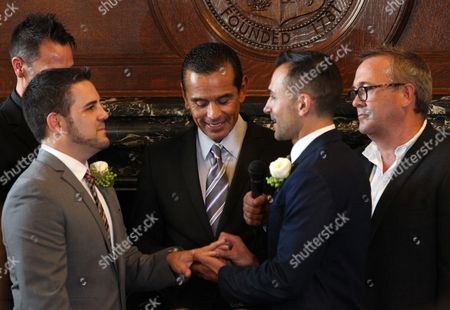 Same Sex Couple Paul Katami (l) and Jeff Zarrillo (2-r) During Their Wedding at Los Angeles City Hall in Los Angeles California Usa 28 June 2013 After California's Proposition 8 Banning Gay Marriage was Struck Down by the the 9th Circuit Court of Appeals the Supreme Court Over-turned the Prop 8 Ban on Same-sex Marriages on at (c) is Los Angeles Mayor Antonio Villaraigosa United States Los Angeles