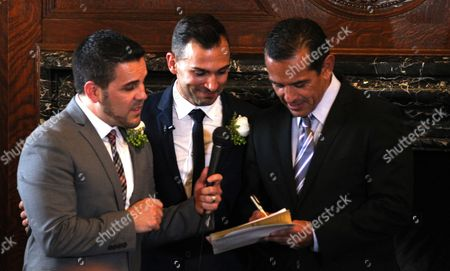 Same Sex Couple Paul Katami (l) and Jeff Zarrillo (c) Next to Los Angeles Mayor Antonio Villaraigosa During the Couple's Wedding at Los Angeles City Hall in Los Angeles California Usa 28 June 2013 After California's Proposition 8 Banning Gay Marriage was Struck Down by the the 9th Circuit Court of Appeals the Supreme Court Over-turned the Prop 8 Ban on Same-sex Marriages on United States Los Angeles