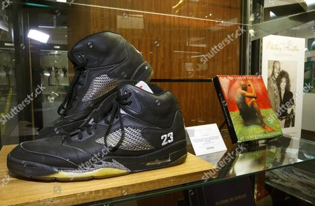 A Pair of Air Jordan Basketball Shoes Given to the Late Musician Whitney Houston by Basketball Star Michael Jordan Are Displayed Before Their Auction in Beverly Hills California Usa 22 June 2016 the Pieces Are Part of the Entertainment and Music Memorabilia Auction to Be Held 25 June 2016 at Heritage Auctions the Auction Includes 898 Other Actor's and Musician's Personally Owned Items United States Beverly Hills