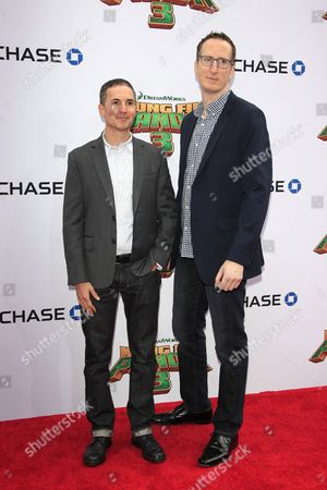 Us Writers Glenn Berger (l) and Jonathan Aibel (r) Arrive For the Kung Fu Panda 3 World Premiere at the Tcl Chinese Theatre Imax in Hollywood Los Angeles California Usa 16 January 2016 the Movie Will Be Released in Us Theaters on 29 January United States Los Angeles