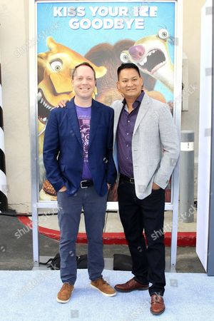 Us Directors Michael Thurmeier (l) and Galen Tan Chu (r) Arrive For the Friends and Family Screening of Ice Age: Collision Course at the 20th Century Fox Lot in Los Angeles California Usa 16 July 2016 the Movie Opens in the Us Theaters on 22 July United States Los Angeles