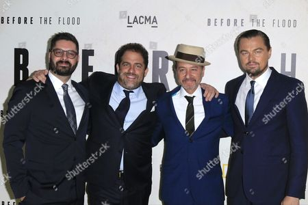 (l-r) Tim Pastore National Geographic President of Original Programming Us Producer Brett Ratner Us Actor/cast Member Fisher Stevens and Us Actor/cast Member Leonardo Dicaprio Arrive For the Before the Flood Los Angeles Premiere at the Bing Theater at Lacma in Los Angeles California Usa 24 October 2016 the Documentary Airs on the National Geographic Channel Globally on 30 October 2016 United States Los Angeles