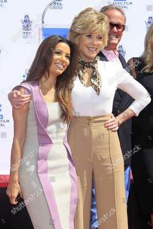 Us Actress Jane Fonda (r) with Actress Eva Longoria (l) at Her Hand and Footprints Ceremony Outside Tcl Chinese Theatre in Hollywood California Usa 26 April 2013 Fonda Joins a Select Group of Industry Luminaries who Have Been Honoured by Having Their Hand and Footprints Encased in Cement Panels That Pave the Forecourt of the Historic Theatre Her Prints Will Be Next to Those of Her Father Henry Fonda United States Hollywood