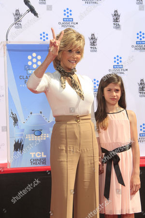 Us Actress Jane Fonda with Her Grand Daughter Viva at Her Hand and Footprints Ceremony Outside Tcl Chinese Theatre in Hollywood California Usa 27 April 2013 Fonda Joins a Select Group of Industry Luminaries who Have Been Honoured by Having Their Hand and Footprints Encased in Cement Panels That Pave the Forecourt of the Historic Theatre Her Prints Will Be Next to Those of Her Father Henry Fonda United States Hollywood