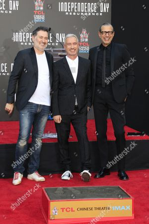 German Director Roland Emmerich (c) Poses with Austrian Composer Harald Kloser (l) and Us Actor Jeff Goldblum (r) After a Ceremony Honoring Emmerich with His Hand and Foot Prints in Cement at the Tcl Chinese Theatre Imax in Hollywood California Usa 20 June 2016 United States Los Angeles