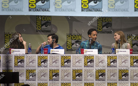 (l-r) Us Actors Alison Brie Ken Jeong Danny Pudi and Gillian Jacobs with the Nbc Television Comedy Series Community Joke Around During a Panel Presentation at the Comic-con 2013 Convention in San Diego California Usa on 21 July 2013 Comic-con International San Diego Began in 1970 when a Group of Comics Movie and Science Fiction Fans Banded Together to Put on the First Comic Book Convention in Southern California United States San Diego