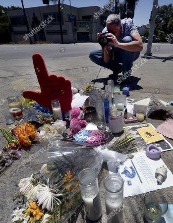 A Photographer Makes a Picture of a Shrine For Dead Canadian Actor Cory Monteith Outside the Gates of Paramount Pictures in Los Angeles California Usa 17 July 2013 Monteith who Starred in the Television Show 'Glee' Died of Mixed Drug Toxicity a Combination of Heroin and Alcohol Monteith was Found Dead in His Hotel in Vancouver on 13 July 2013 the Actor Had Struggled with Drugs and Alcohol Abuse For Years United States Los Angeles