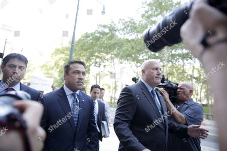 Former United States Congressman Michael Grimm Enters United States Federal Court in Brooklyn New York Usa 17 July 2015 Grimm is Accused of Numbers Offenses Including Mail Wire and Health Fraud Filing False Tax Returns and Perjury United States New York
