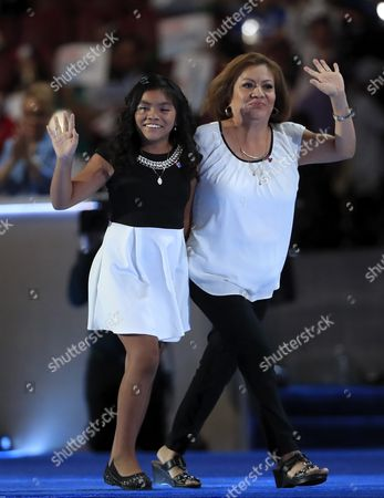 Stock Picture of Eleven-year-old Karla Ortiz (l) and Her Mother Francisca Ortiz Wave As They Take the Stage on the First Day of the Democratic National Convention at the Wells Fargo Center in Philadelphia Pennsylvania Usa 25 July 2016 the Four-day Convention is Expected to End with Hillary Clinton Formally Accepting the Nomination of the Democratic Party As Their Presidential Candidate in the 2016 Election United States Philadelphia