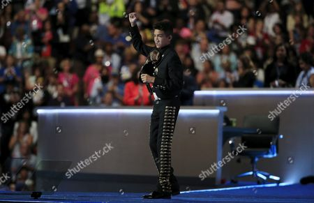 Sebastien De La Cruz Sings the National Anthem on the Third Day of the Democratic National Convention at the Wells Fargo Center in Philadelphia Pennsylvania Usa 26 July 2016 the Four-day Convention is Expected to End with Hillary Clinton Formally Accepting the Nomination of the Democratic Party As Their Presidential Candidate in the 2016 Election United States Philadelphia