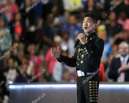 Stock Image of Sebastien De La Cruz Sings the National Anthem on the Third Day of the Democratic National Convention at the Wells Fargo Center in Philadelphia Pennsylvania Usa 26 July 2016 the Four-day Convention is Expected to End with Hillary Clinton Formally Accepting the Nomination of the Democratic Party As Their Presidential Candidate in the 2016 Election United States Philadelphia