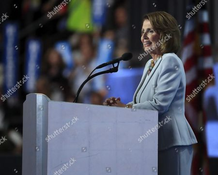 United States Representative Nancy Pelosi Delivers Remarks on Stage During the Final Day of the Democratic National Convention at the Wells Fargo Center in Philadelphia Pennsylvania Usa 28 July 2016 the Four-day Convention is Expected to End with Hillary Clinton Formally Accepting the Nomination of the Democratic Party As Their Presidential Candidate in the 2016 Election United States Philadelphia