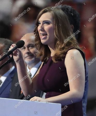 Lgbt Rights Activist and First Transgender Person to Speak at the Dnc Sarah Mcbride on Stage During Final Day of the Democratic National Convention at the Wells Fargo Center in Philadelphia Pennsylvania Usa 28 July 2016 the Four-day Convention is Expected to End with Hillary Clinton Formally Accepting the Nomination of the Democratic Party As Their Presidential Candidate in the 2016 Election United States Philadelphia