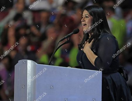 Hillary For America Latino Vote Director Lorella Praeli on Stage During Final Day of the Democratic National Convention at the Wells Fargo Center in Philadelphia Pennsylvania Usa 28 July 2016 the Four-day Convention is Expected to End with Hillary Clinton Formally Accepting the Nomination of the Democratic Party As Their Presidential Candidate in the 2016 Election United States Philadelphia