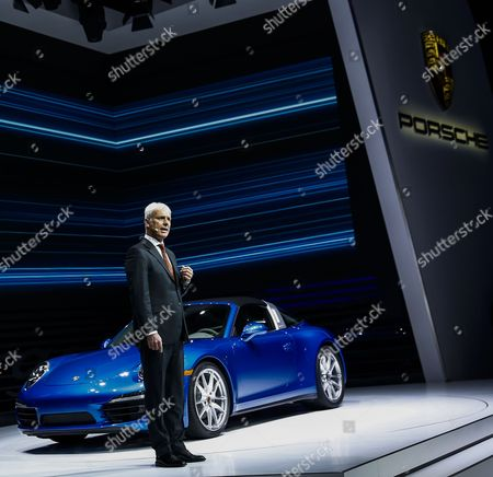Porsche President and Ceo Matthias Muller Introduces the New Porsche 911 Targa at the North American International Auto Show at the Cobo Center in Detroit Michigan Usa on 13 January 2014 United States Detroit
