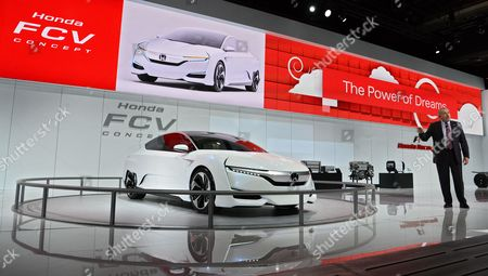 John Mendel Executive Vice President Automobile Division American Honda Motor Co Inc Talks About the Honda Fcv Concept Car at the North American International Auto Show at the Cobo Center in Detroit Michigan Usa 13 January 2015 the North American International Auto Show is One of the Largest Car Shows Held Each Year in the United States and Opens to the Public 17 January 2015 United States Detroit