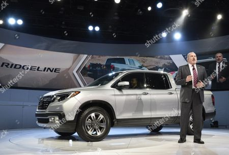 John Mendel Executive Vice President Automobile Division American Honda Motor Company Talks About the New Ridgeline Truck at the North American International Auto Show at Cobo Center in Detroit Michigan Usa 11 January 2016 Auto Manufacturers From Around the Globe Come to Show Off Their Latest Models and Concepts United States Detroit
