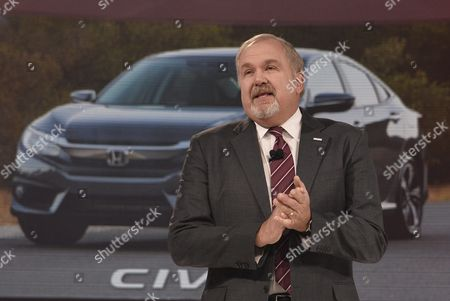 John Mendel Executive Vice President Automobile Division American Honda Motor Company Talks to the Audience at the North American International Auto Show at Cobo Center in Detroit Michigan Usa 11 January 2016 Auto Manufacturers From Around the Globe Come to Show Off Their Latest Models and Concepts United States Detroit