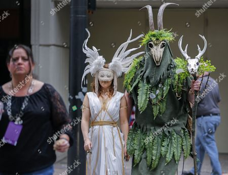Jordan Poll (l) As Oracle and Chad Allen (r) As the Swamp Druid Cross Peachtree Street During the 30th Annual Dragon Con Science Fiction and Fantasy Convention in Atlanta Georgia Usa 02 September 2016 Thousands of Attendees Crowd Downtown Atlanta Hotels and Streets During the Labor Day Weekend Many Dressed As Their Favorite Characters in what is Know As Cosplay United States Atlanta