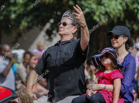 Stock Picture of Us Actor Judge Reinhold (l) His Wife Amy (r) and Their Daughter Haley (c) Participate in the 30th Annual Dragon Con Parade in Atlanta Georgia Usa 03 September 2016 Thousands of Attendees Crowd Downtown Atlanta Hotels and Streets During the Labor Day Weekend For the Dragon Con Science Fiction and Fantasy Convention Many Dressed As Their Favorite Characters United States Atlanta