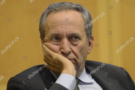 Stock Picture of Economist Lawrence Summers Attends an Economic Forum on 'Policy Responses to Crises' During the Fourth Annual Jacques Polak Research Conference at the International Monetary Fund (imf) in Washington Dc Usa 08 November 2013 United States Washington