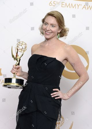 Sarah Bromell who Accepted on Behalf of Her Husband Writer Henry Bromell Winner of the Best Writing For a Drama Series Award For 'Homeland' Poses in the Press Room During the 65th Primetime Emmy Awards Held at the Nokia Theatre in Los Angeles California Usa 22 September 2013 the Primetime Emmy Awards Celebrate Excellence in National Primetime Television Programming United States Los Angeles