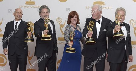 (l-r) Us Producers Michael Polaire Gregory Jacobs Susan Ekins and Jerry Weintraub Winners of Outstanding Miniseries Or Movie For 'Behind the Candelabra ' and Us Actor Michael Douglas Winner of Outstanding Lead Actor in a Miniseries Or Movie For 'Behind the Candelabra ' Pose in the Press Room During the 65th Primetime Emmy Awards Held at the Nokia Theatre in Los Angeles California Usa 22 September 2013 the Primetime Emmy Awards Celebrate Excellence in National Primetime Television Programming United States Los Angeles