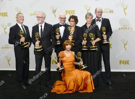 (l-r) Producers David Coatsworth Gary Goetzman Steve Shareshian and Jane Anderson Director Lisa Cholodenko and Actors Frances Mcdormand and Richard Jenkins Winners of Outstanding Limited Series Award For 'Olive Kitteridge' Pose in the Press Room During the 67th Annual Primetime Emmy Awards Held at the Microsoft Theater in Los Angeles California Usa 20 September 2015 the Primetime Emmy Awards Celebrate Excellence in National Primetime Television Programming United States Los Angeles