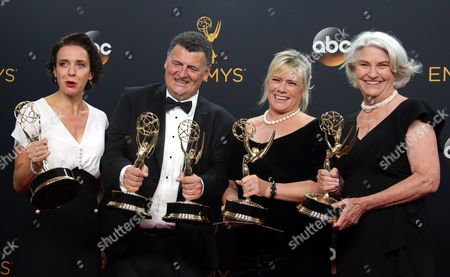 (l-r) Amanda Abbington Steven Moffat Sue Vertue and Rebecca Eaton Winners of the Outstanding Television Movie Award For 'Sherlock' Pose in the Press Room During the 68th Annual Primetime Emmy Awards Ceremony Held at the Microsoft Theater in Los Angeles California Usa 18 September 2016 the Primetime Emmy Awards Celebrate Excellence in National Primetime Television Programming United States Los Angeles