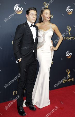 Stock Image of Sophia Vergara (r) with Her Son Manolo Vergara (l) Arrive For the 68th Annual Primetime Emmy Awards Ceremony Held at the Microsoft Theater in Los Angeles California Usa 18 September 2016 the Primetime Emmy Awards Celebrate Excellence in National Primetime Television Programming United States Los Angeles