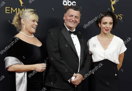 (l-r) Sue Vertue Steven Moffat and Amanda Abbington Arrive For the 68th Annual Primetime Emmy Awards Ceremony Held at the Microsoft Theater in Los Angeles California Usa 18 September 2016 the Primetime Emmy Awards Celebrate Excellence in National Primetime Television Programming United States Los Angeles