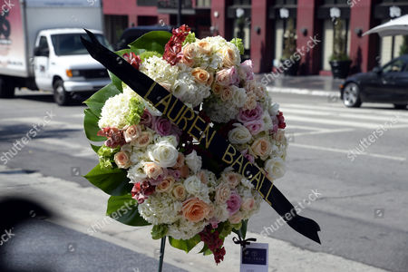 A Wreath From the Hollywood Chamber of Commerce As Well As Flowers and Other Mementos Are Placed on the Hollywood Walk of Fame Star For Us Actress Lauren Bacall in Hollywood California Usa 13 August 2014 the Actress who was Married to the Late Humphrey Bogart and was Honored with an Oscar 'In Recognition For Her Central Place in the Golden Age of Movie Making' Died of a Stroke 12 August 2014 in New York at the Age of 89 United States Hollywood