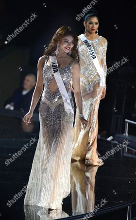 Miss India Urvashi Manvar Singh Rautela (l) is Followed by Miss Indonesia Anindya Kusuma Putri (r) During in the Evening Fashion Gown Contest For the 2016 Miss Universe Pageant at the Planet Hollywood Hotel & Casino in Las Vegas Nevada Usa 16 December 2015 the Miss Universe Pageant Live Telecast Takes Place on 20 December 2015 United States Las Vegas