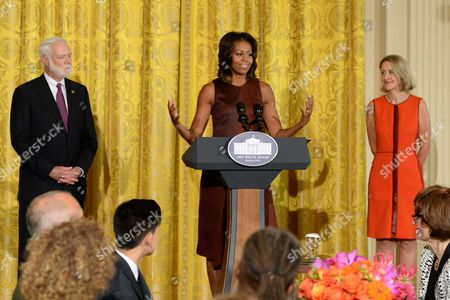 Us First Lady Michelle Obama (c) Delivers Remarks Beside Secretary of the Smithsonian Institution Wayne Clough (l) and Director of the Smithsonian's Cooper-hewitt National Design Museum in New York Caroline Baumann (r) During a Luncheon in Honor of the Winners of the 2013 National Design Awards at the White House in Washington Dc Usa 20 September 2013 the Awards Are Organized by the Smithsonian's Cooper-hewitt National Design Museum with High School Students From New York and Washington Dc United States Washington