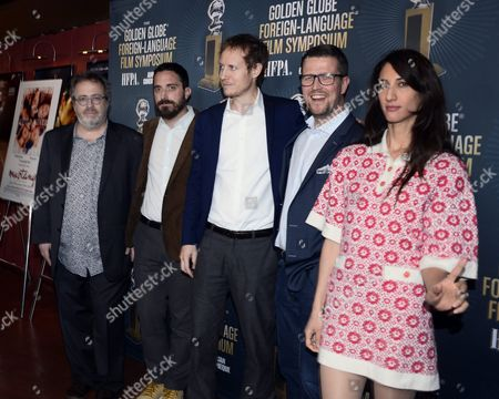 Belgian Director Jaco Van Dormael (l) Chilean Director Pablo Larra?n (2l) Hungarian Director Laszlo Nemes (c) Finnish Director Klaus Haro (2r) and French Director Deniz Gamze Erg?ven (r) Arrive For a Symposium at the Egyptian Theatre in Hollywood California Usa 09 January 2016 All Five Directors' Films Are Golden Globe Award Nominees For Best Foreign Language Film United States Hollywood
