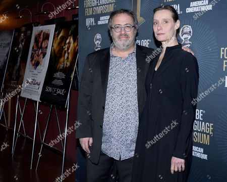 Belgian Director Jaco Van Dormael (l) and Belgian Choreographer Anne De Mey (r) Arrive For a Symposium at the Egyptian Theatre in Hollywood California Usa 09 January 2016 Dormael's Film 'The Brand New Testament' is a Golden Globe Award Nominee For Best Foreign Language Film United States Hollywood