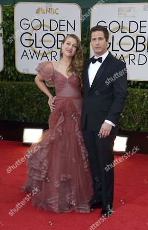 Us Actor Andy Sandberg and Wife Singer-songwriter Joanna Newsom Arrive For the 71st Annual Golden Globe Awards at the Beverly Hilton in Beverly Hills California Usa 12 January 2014 United States Los Angeles
