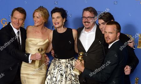 Stock Picture of The Cast of the Tv Series 'Breaking Bad' Actors Bryan Cranston Anna Gunn and Betsy Brandt Writer-producer Vince Gilligan Actors R J Mitte and Aaron Paul Pose with Their Golden Globe For Best Television Series - Drama in the Press Room at the 71st Annual Golden Globe Awards at the Beverly Hilton in Beverly Hills California Usa 12 January 2014 United States Los Angeles