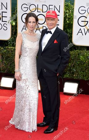 Austrian Former Formula One Driver Niki Lauda and Wife Birgit Wetzinger Arrive For the 71st Annual Golden Globe Awards at the Beverly Hilton in Beverly Hills California Usa 12 January 2014 United States Los Angeles