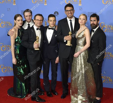 (l-r) Actors Carly Chaikin Martin Wallstrom Christian Slater and Rami Malek Writer/producer Sam Esmail Actress Portia Doubleday and Producer Chad Hamilton Pose with the Award For Best Series - Drama For 'Mr Robot ' in the Press Room During 73rd Annual Golden Globe Awards at the Beverly Hilton Hotel in Beverly Hills California Usa 10 January 2016 United States Beverly Hills