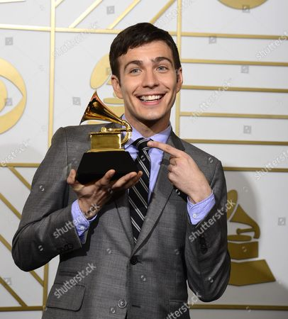 Tim Kubart Holds Up His Award For Best Children's Album in the Press Room During the 58th Annual Grammy Awards Ceremony at the Staples Center in Los Angeles California Usa 15 February 2016 United States Los Angeles