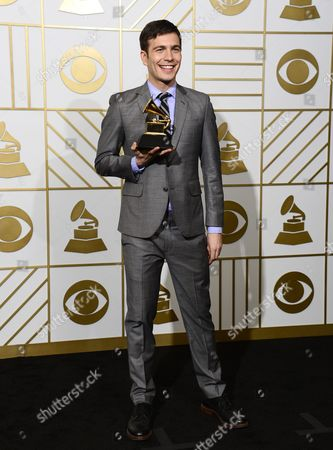 Stock Picture of Tim Kubart Holds Up His Award For Best Children's Album in the Press Room During the 58th Annual Grammy Awards Ceremony at the Staples Center in Los Angeles California Usa 15 February 2016 United States Los Angeles