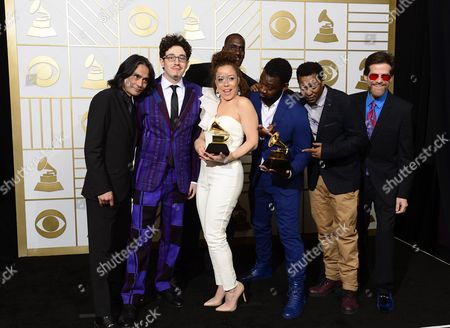 Kendra Foster (c) of the Vanguard Hold Up Their Award For For Best R&b Song in the Press Room During the 58th Annual Grammy Awards Ceremony at the Staples Center in Los Angeles California Usa 15 February 2016 United States Los Angeles